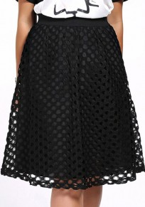 Black Plain Hollow-out Below Knee Fashion Lace Skirt