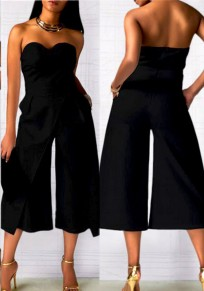 Black Bandeau Pockets Off Shoulder High Waisted Elegant Long Jumpsuit