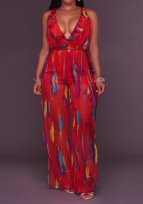 Red Patchwork Ruffle Sashes V-neck Backless High Waisted Side Slit Long Jumpsuit