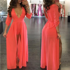 Orange Cut Out Deep V-neck Backless Chiffon Short Jumpsuit With Maxi Overlay