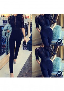 Black Patchwork Lace Pockets Half Sleeve High Waisted Long Jumpsuit