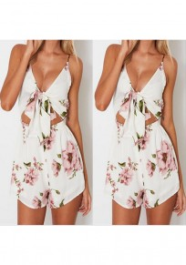 White Flowers Print Lace-up Cut Out Spaghetti Strap Bohemian Short Jumpsuit