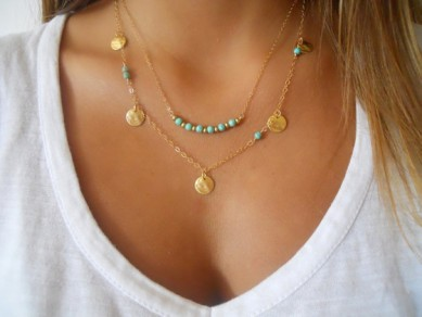 Golden Vintage Alloy Beads/Feather String & Strand Necklaces