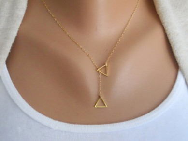 Golden Fashion Alloy Geometrical/Striped Pendant Necklaces