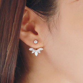 Silver Fashion Alloy Flower Stud Earring