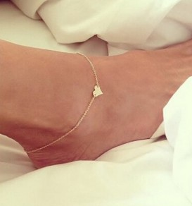 Golden Heart Alloy Fashion Anklet