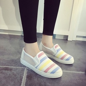 White Round Toe Hollow-out Casual Flat Shoes