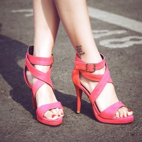 Pink Piscine Mouth Stiletto Buckled Fashion Ankle Sandals