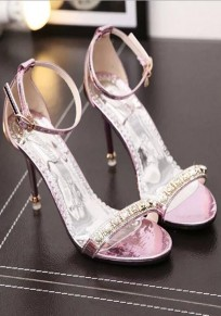 Pink Piscine Mouth Stiletto Crystal Fashion High-Heeled Sandals