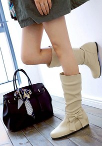 Beige Round Toe Flat Bow Casual Mid-Calf Boots