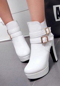 White Round Toe Chunky Double Buckle Casual Ankle Boots