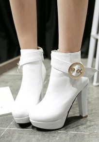 White Round Toe Chunky Buckle Fashion Martin Boots