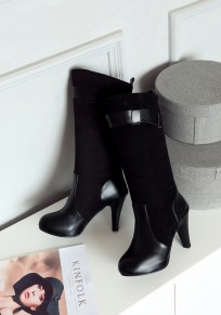 Black Round Toe Stiletto Patchwork Casual Mid-Calf Boots