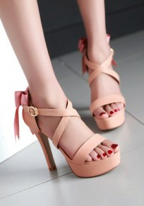 Pink Round Toe Stiletto Bow Fashion High-Heeled Sandals