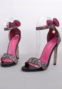Black Round Toe Stiletto Bow Sequin Fashion High-Heeled Sandals