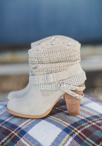 Beige Round Toe Chunky Rivet Fashion Ankle Boots