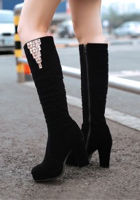 Black Round Toe Chunky Rhinestone Fashion Knee-High Boots