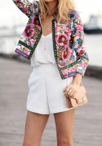 Multicolor Floral Print Embroidery Trench Coat