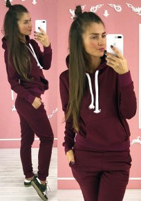 Claret Drawstring Pockets 2-in-1 Elastic Waist Casual Long Jumpsuit