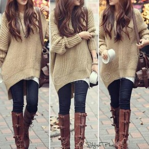 Apricot Plain Hooded Dolman Long Sleeve Irregular Thick Sweater