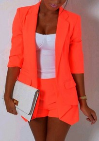Orange Turndown Collar 3/4 Sleeve OL Style Blazer And Shorts