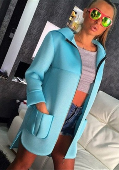 Blue Plain Pockets Zipper Hooded Long Sleeve Coat