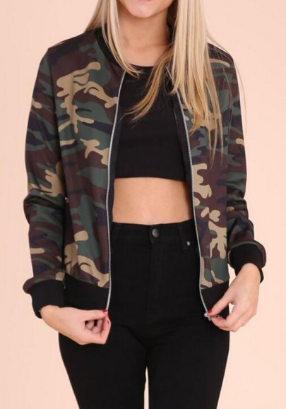 Camouflage Print Band Collar Zipper Long Sleeve Fashion Vest Coat
